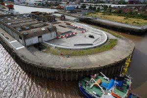 New flood defences at Albert Dock, Hull.